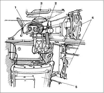 Место стрелка-радиста: 1 — прицел; 2 — пулемет MG34; 3 — головной упор; 4 — мешки с пулеметными лентами; 5 — сиденье.