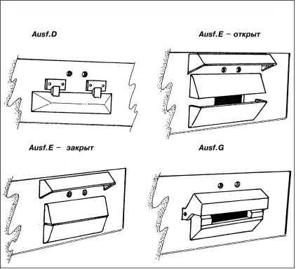 Варианты бронировки прибора наблюдения механика-водителя.