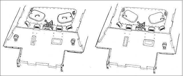 Характерные отличия корпусов (лобовые части) танков Ausf.D раннего (слева) и позднего (справа) выпуска.