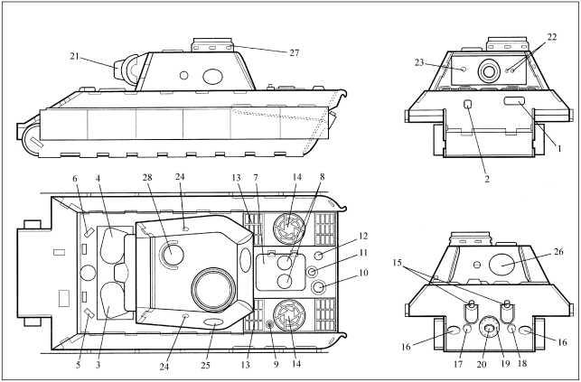 Корпус танка: 1 — люк-пробка механика-водителя; 2 — броневая заслонка пулеметной амбразуры; 3 — люк-лаз механика-водителя; 4 — люк-лаз радиста; 5 — перископические приборы наблюдения механика-водителя; 6 — перископические приборы наблюдения радиста; 7 — люк моторного отделения; 8 — отдушины для притока воздуха; 9 — вывод антенны; 10 — люк для заливки воды в систему охлаждения; 11 — основание для установки воздухоподводящей трубы при подводном вождении танка; 12 — люк для доступа к горловине топливных баков; 13 — воздухоприемные окна системы охлаждения двигателя; 14 — воздухоотводящие окна системы охлаждения двигателя; 15 — выхлопные трубы; 16 — люки для доступа к механизмам натяжения гусениц; 17 — люк для доступа к водогрейному котлу системы охлаждения; 18 — люк для доступа к приводу инерционного стартера; 19 — люк для доступа в моторное отделение; 20 — люк для доступа к приводу двигателя от пусковой рукоятки; 21 — маска пушки; 22 — амбразуры бинокулярного прицела; 23 — амбразура спаренного пулемета; 24 — амбразура для стрельбы из личного оружия; 25 — люк для выброса стреляных гильз; 26 — люк-лаз для посадки и высадки экипажа; 27 — <a href='https://arsenal-info.ru/b/book/3397331535/7' target='_self'>командирская башенка</a>; 28 — отдушина башенного вентилятора.