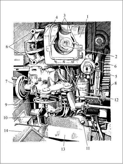 Боевое отделение танка: 1 — казенная часть пушки; 2 — клин затвора; 3 — трубопровод для продува канала ствола; 4 — указатель отката; 5 — цилиндр полуавтоматики; 6 — гнездо для установки ограждения пушки; 7 — маховик подъемного механизма; 8 — сектор подъемного механизма; 9 — маховик ручного поворотного механизма; 10 — рычаг управления гидравлическим поворотным механизмом; 11 — рычаг включения гидравлического поворотного механизма; 12 — уравновешивающий механизм пушки; 13 — гильзоулавливатель; 14 — сиденье наводчика.