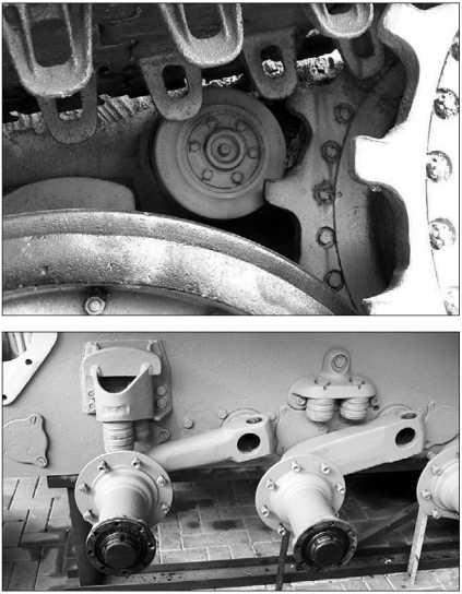 Элементы ходовой части танка «Пантера»: отбойный ролик (вверху); балансиры опорных катков и ограничители их хода (внизу).