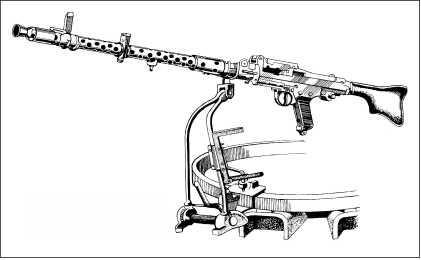 Установка пулемета MG34 на рельсе командирской башенки.