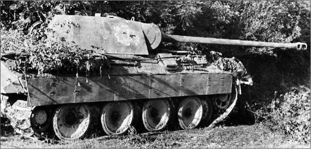 Замаскированная «Пантера», судя по эмблеме, из танковой дивизии «Лейбштандарт СС «Адольф Гитлер». Франция, 1944 год.