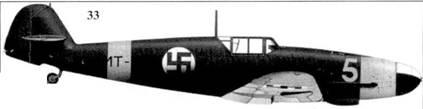33.Bf. 109G-2 (Wk-Nr 13577) MT-225/«желтая 5» командира 1/HLeLv-24 1-го лейтенанта Лаури Ниссинена, Суулаярви. май 1944г.