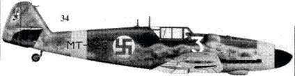 34.Bf.109G-6 (Wk-Nr 412122) МТ-423/ «белая 3» стафф-сержанта Хеммо Лейно, 1/HLeLv-34, Куми, июнь 1944г.