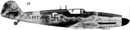 35.Bf.109G-6/R-6 (Wk-Nr 165342) МТ-461/«желтая 6» командира 3/HLeLr-24 1-го лейтенанта Киюсти Кархилы, Лаппиинрапта, июль 1944г.