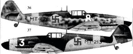 36.Bf.109G-6 (Wk-Nr 411901) МТ-428/«белая 8» мастер-сержанта Антти Тани, 1/HLeLv-34, Лаппиинранта, июль 1944г.