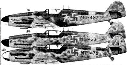 38.Bf.109G-6 (Wk-Nr 166007) МТ-487/«желтая 7» Мауно Фрянтилля, 2/HLeLV30, Куми, Август 1944г.