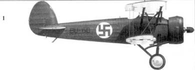 1.Истребитель «Бульдог IVA» BU-68 сержанта Валио Порвари, LLv-26, Хейнюки, декабрь 1939г. Боковые и верхние поверхности — зеленые, нижние — светло-голубые.