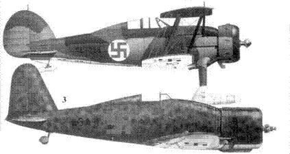 2.Истребитель «Гладиатор II» GL-256 капрала Илмари Юпсуу, 2/LL.V-26, Руоколахти, февраль 1940г. Верхние и боковые поверхности покрыты пятнами зеленого, темно и светло-коричневых цветов.