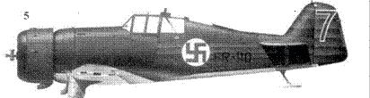 5.Фоккер D.XXI (c/n III/11) FR-110/ голубая «7» уоррент-офицера Виктора Пиятсия, 3/LLv-24, Йоройнен, апрель 1940г. Верхние и боковые поверхности — темно-зеленые.