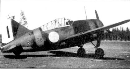 Истребитель Брюстер «модель 239» (бортовой код «BYV-380») майора Густава Магнуссона, аэродром Рантасалми, июль 1941г. 8 июля 1941г. Магнуссон вступил в «клуб асов». В общей сложности Магнуссон выполнил 158 боевых вылетов, сбил шесть самолетов, пять из них — бомбардировщики.