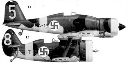 11.Фиат G.50 (MM-4736) FA-15/«желтая 5» сержанта Клауса Алакоски, 3/ LeLv-26, Каилпасилта, ноябрь 1942г.
