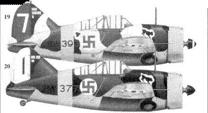 19.Брюстер «модель 239» BW-393/ «белая 7» командира 1/LeLv-24 1-го лейтенанта Ханса Винда, Суулаярви, январь 1943г.