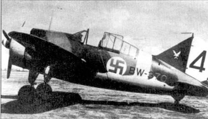 Истребитель Брюстер с бортовым кодом «BW-370» из 4/LeLv-24, аэродром Рюмпютти, август 1942г. На нем регулярно летал 1-й лейтенант Аулис Лумми, одержавший на данной машине 4,5 из своих 16,5 побед. Лумми за войну совершил 287 боевых вылетов.