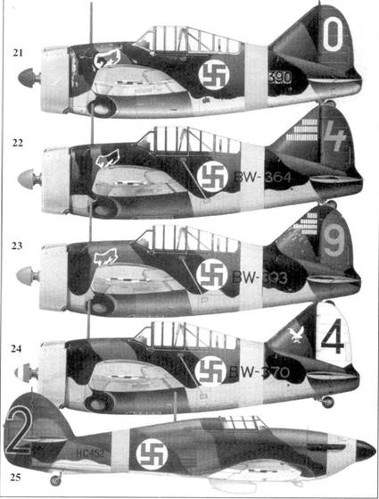 21.Брюстер «модель 239» BW-390/«белый 0» 2-го лейтенанта Кая Митсолы, 1/LeLv-24, Нурмойли, октябрь 1941г.