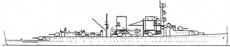 Модернизация 1934-35годов несколько изменила облик старых крейсеров. Мачты кораблей были значительно укорочены, а на топе фок-мачты установили артиллерийский директор