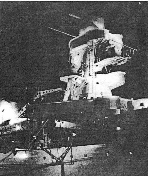 Носовая надстройка крейсера De Ruyter ночью