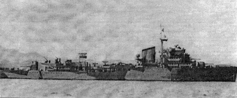 Tromp осенью 1942 года после модернизации на верфи Cockatoo Yard в Сиднее. На артустановках ГК «В» и «У» размещены одноствольные «эрликоны». Вопреки сообщениям источников, крейсер сохранил прожектора и торпедное вооружение.