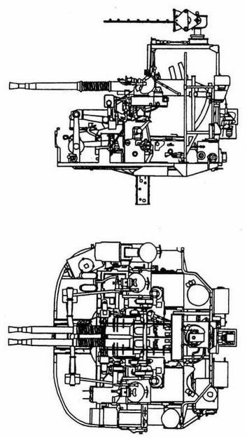 Двуствольная 40-мм зенитная установка Hazemeyer- Bofors MkV с радаром «тип 232»
