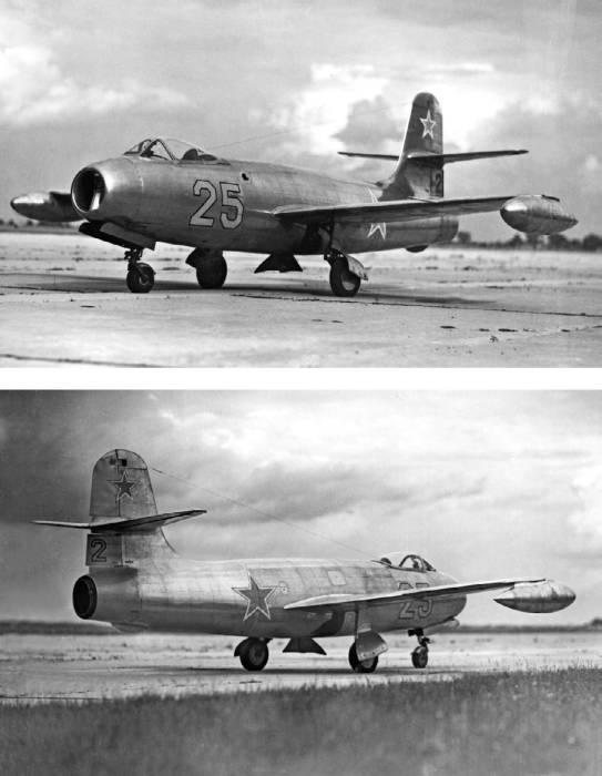 Второй экземпляр Як-19 с подвесными топливными баками на концах крыла