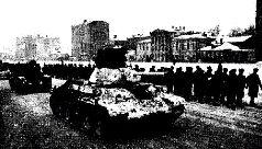 Танк Т-26 1-й гвардейской танковой бригады в боях под Москвой. Зима, 1942 г.