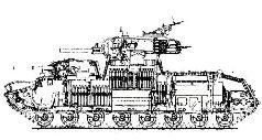 Танк Т-100, вид сбоку. 1939 г.