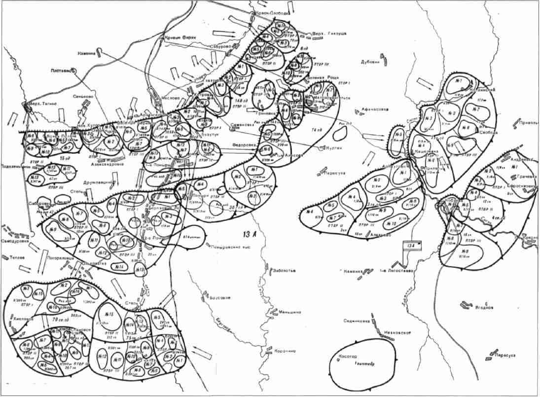 Схема расположения рубежей обороны на северном фасе Курской дуги.