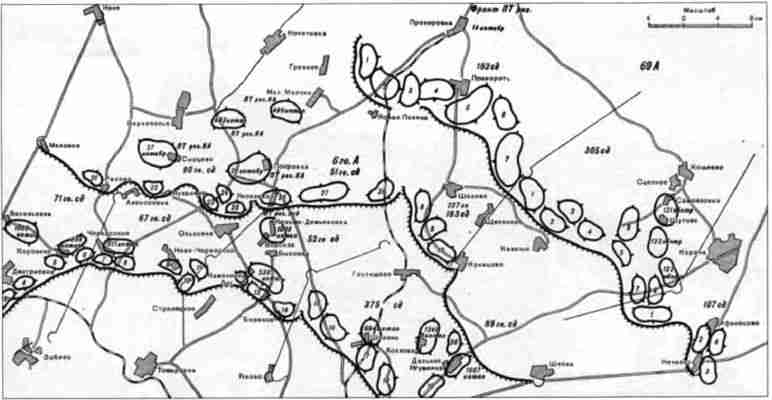 Схема расположения противотанковых районов на южном фасе Курской дуги.