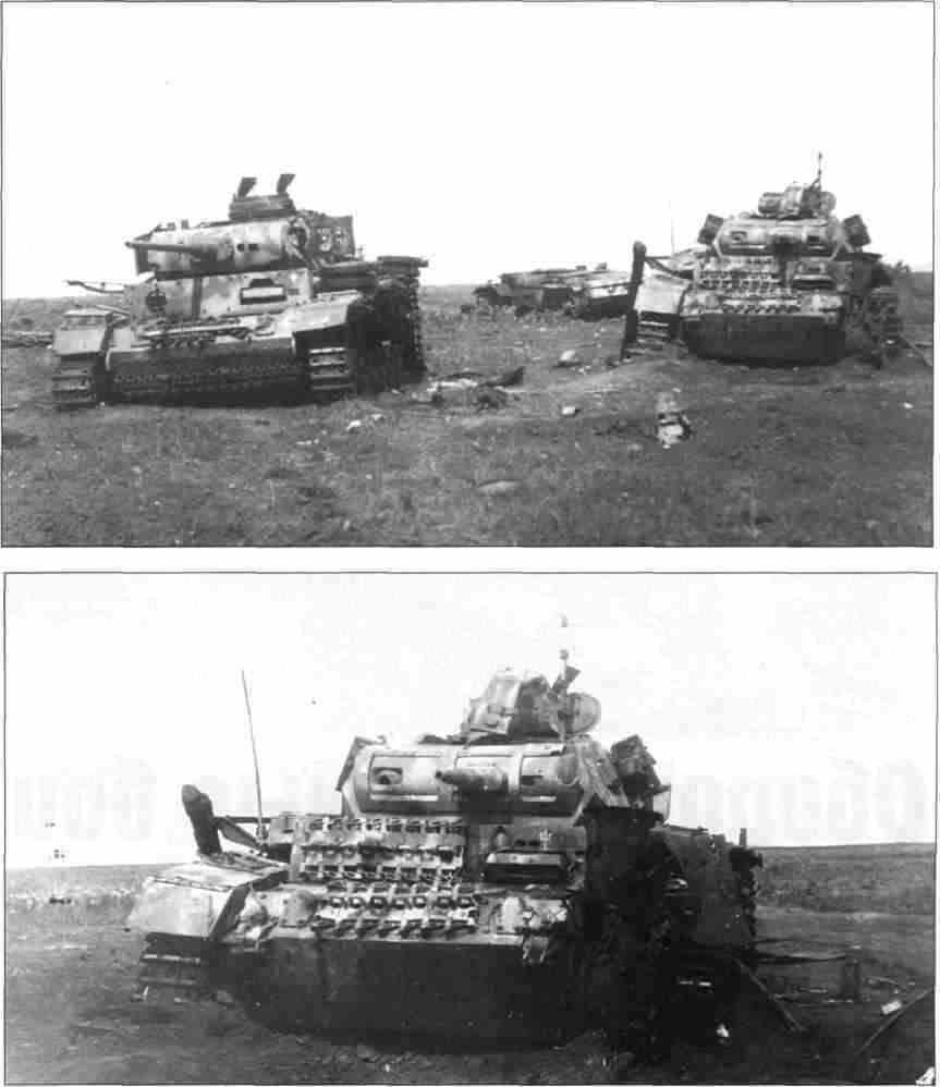 Верхний снимок— Танки 3-го полка 2-й танковой дивизии, подбитые на окраине ст. Поныри. 12–15 июля 1943г. (Фото из коллекции Г.Петрова).