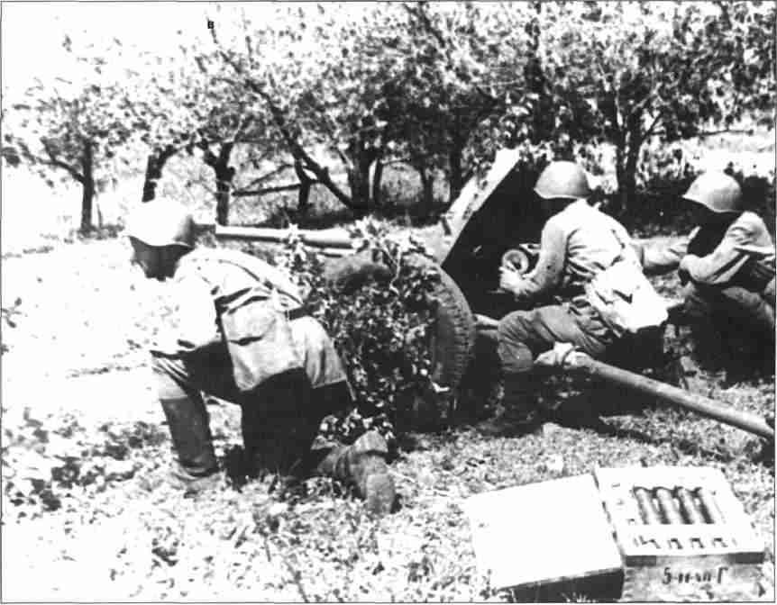 Расчёт 45-мм орудия сержанта Круглова подбил в боях 3 <a href='https://arsenal-info.ru/b/book/3501690473/2' target='_self'>немецких танка</a>. Июль 1943г. (Фото из коллекции авторов)