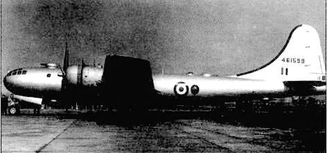 «Вашингтон В Мк.1» представлял собой американский В-29, переданный на время Великобритании. пока шли работы над английским стратегическим бомбардировщиком нового поколения.