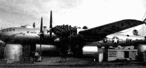 В-50А «Lucky Lady II» (46-10) из 43-го бомбардировочного крыла на промежуточной заправке. Самолет совершил кругосветный перелет с несколькими промежуточными посадками, продолжавшийся с 26 февраля по 2 марта 1949 года. Самолет пролетел 23452 мили за 94 часа. Двигатель «Пратт-энд-Уитни R-4360» «счетверенная звезда» внешне напоминал початок кукурузы.