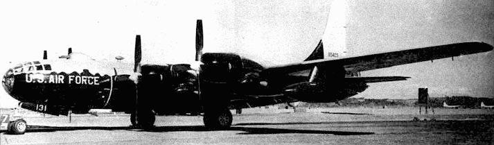 RB-50E (47-131). Нижняя сторона самолета покрыта черной блестящей краской. Самолеты этого типа активно действовали в Корейской войне. Пo крайней мере один из них был сбит корейскими МиГами.