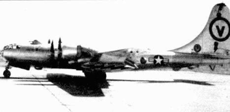 RB-50F из 55-го крыла стратегической разведки. База Форбс, Канзас, 1953 год. RB-50F имели дополнительные антенны «ELINT», включая большой радар под хвостовой частью фюзеляжа.