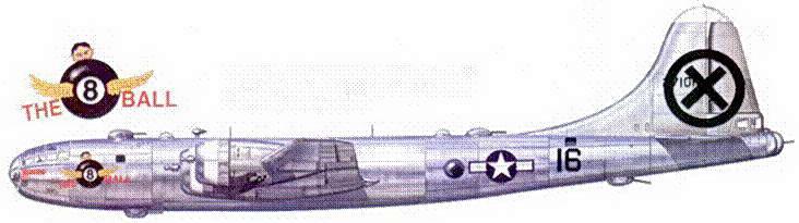 B-29 «The Flying 8 Ball» из 9-й группы. Ha фюзеляже отметки 13 боевых вылетах и одной одержанной победы.