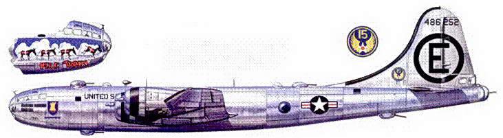 В-29 «Mule Train», один из первых самолетов 22-группы, прибывших в Кадену в июле 1950 года.