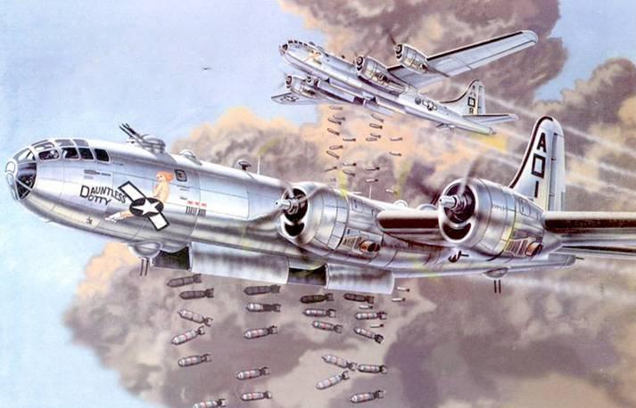 В-29 «Dounlless Dolly» под управлением майора Роберта Моргана совершает первый свой рейд на Токио, 24 ноября 1944 г. В Европе Моргану на В-17 «Memphis Belle» первому удалось совершить 25 бомбардировок Германскойтерритории и остаться в живых.