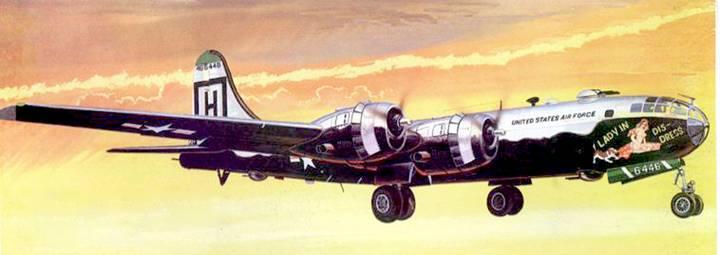 В-29 «Lady in dis-dress» и 198-й бомбардировочной авиагруппы вылетает с авиабазы Йокота на бомбардировку целей в Корее. 1951 г.