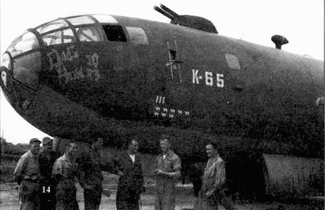 «Ding How» (42-6225) из 444-й бомбардировочной группы, Кванхань, Китай, 25 октября 1944 года. 21 ноября 1944 года тот самолет совершит вынужденную посадку во Владивостоке. В Советском Союзе машину полностью разберут, создав ее копию, получившую известность как Ту-4.