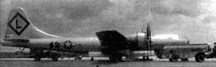 В-29В на полосе аэродрома Айли-Филд, Сайпан. Почти все В-29В действовали в составе 315-го бомбардировочного крыла. Многие из них оснащались радаром AN/APQ-7 «Игл», обладающим высокой разрешающей способностью.