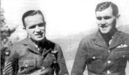 Флайт-сержант Джек Маклаки (слева) и уоррент-офицер Хаггард из 60-го дивизиона RAF, оснащенного «Бленхеймами» Mk IV. 22 мая 1942 года Маклаки сбил над Акьябом знаменитого командира 64-го сентая, подполковника Татео Като.