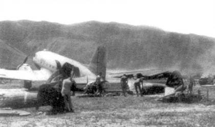 Остатки уничтоженных Ки-43-II-Оцу, 1-й чутай 248-го сентая, Новая Гвинея, апрель 1944 года.