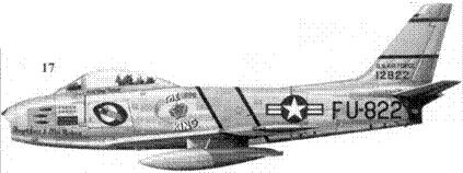 17.F-86E-10-NA 51-2822 «THE KING/Angel Face & The Babes» полковника Ройала Вэйкера из 336-й эскадрильи 4-го авиакрыла