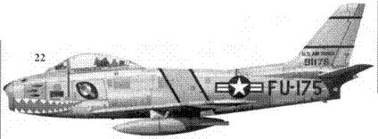 22.F-86A-5-NA 49-1175 «PAUL'S MIG KILLER» 1-го лейтенанта Джозефа И. Филдса из 336-й эскадрильи 4-го авиакрыла