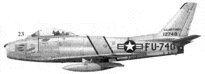23.F-86E-10-NA 51-2740 «GABBY» командира 51-го истребительного авиакрыла полковника Фрэнсиса Габрески