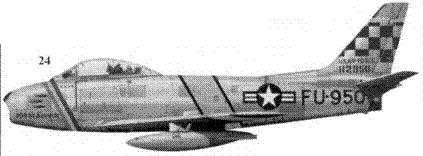 24.F-86F-10-NA 51-12950 «Mitch's Squitch» командира 51-го истребительного авиакрыла полковника Джона У. Митчелла