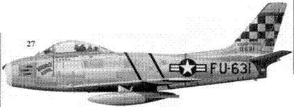 27.F-86E-1-NA 50-631 «DOLPH'S DEVIL» капитана Долфина Д. Овертоуна из 16-й эскадрильи 51-го авиакрыла