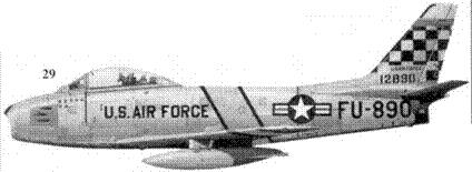 29.F-86F-1-NA 51-289 1-го лейтенанта Генри Бэттлмэн из 25-й эскадрильи 51-го авиакрыла